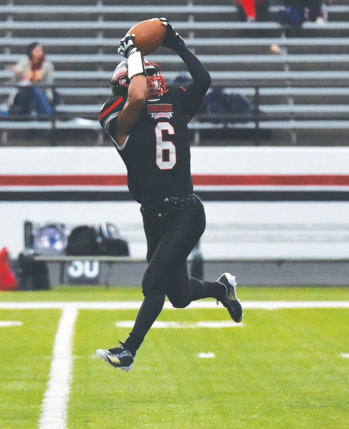 Messenger photo by Britt Kudla  Fort Dodge's Trey Mosley catches a pass inside Dodger Stadium earlier this year.