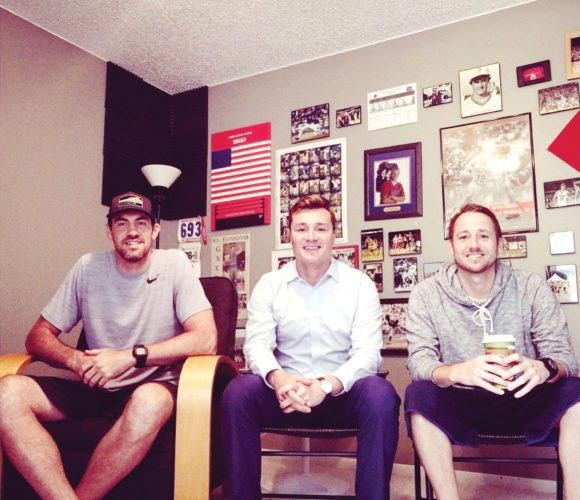 —Submitted photo  Tim Flattery (center) founder of the Moonlight graham show podcast sits with NBA player and Iowa Falls-Alden graduate Nick Collison and St. Edmond graduate Jack Brownlee.