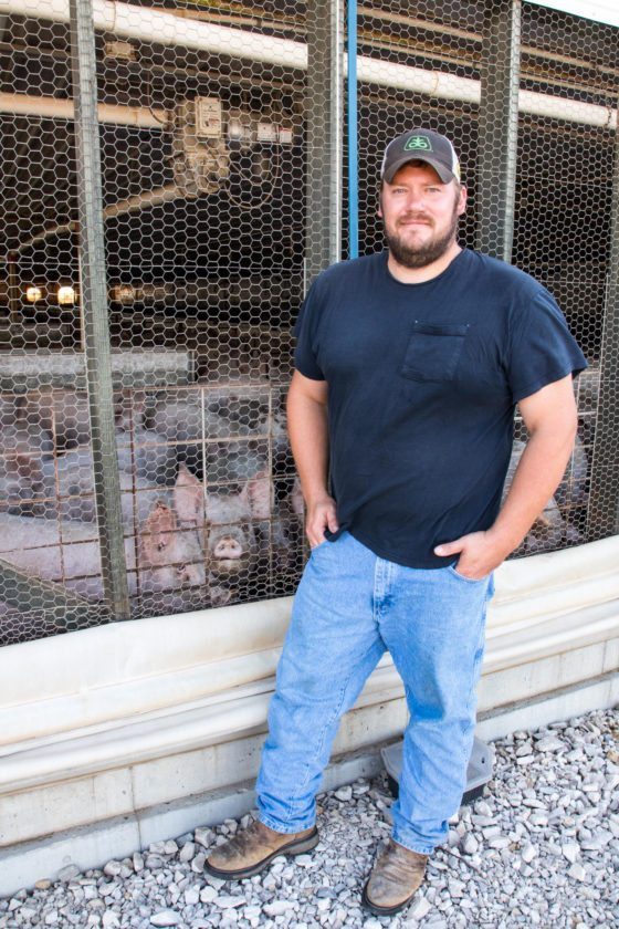 -Messenger photo by Darcy Dougherty Maulsby  Jason Folsom, a contract finisher in Calhoun County, offered up five reasons why pork production is good for Iowa.