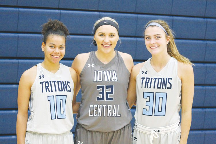 —Photo by Paul DeCoursey  Sophomores for the Iowa Central women's basketball team are, left to right, Rachel Toto, Emma O'Donoghue and Sarah Rolling.