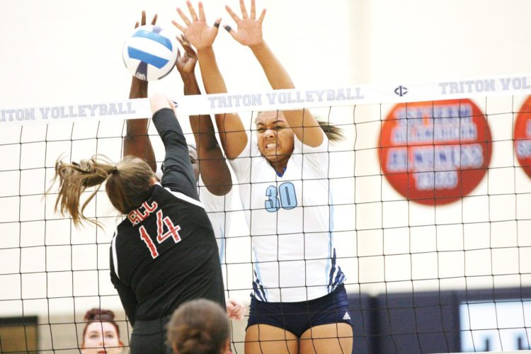 Photo by Paul DeCoursey  Kayla Faldet gets a block at the net for Iowa Central against Southeastern on Wednesday inside Hodges Fieldhouse.