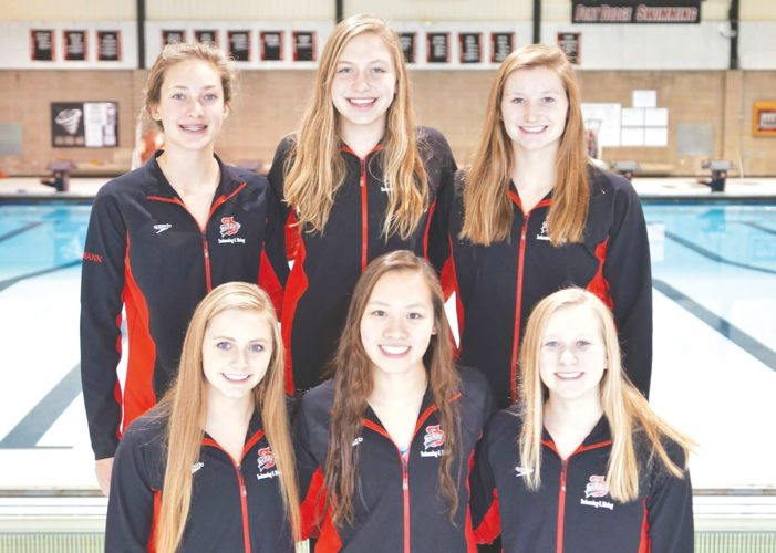 Photo by Kent Keith, for The Messenger  State qualifiers for the Fort Dodge swim team are, front row, left to right, Morgan Border, Luanne Xiao and Grace Hartley. Back: Madigan Peimann, Elora Fierke and Taylor Hartley.