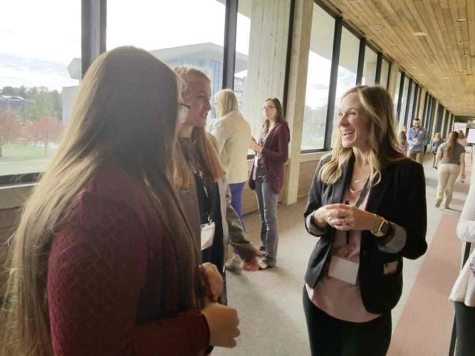 "-Messenger photo by Darcy Dougherty Maulsby ""If I'd had FarmHer when I was younger, I would have found my voice much sooner,"" said Marji Guyler-Alaniz, founder of FarmHer, who visited with attendees at the Grow by FarmHer event in Ames on Nov. 6. Guyler-Alaniz will discuss ""Shining a Light on Women in Agriculture"" from 2:30 p.m. to 4 p.m. on Dec. 6 at the Farm News Ag Show in Fort Dodge."