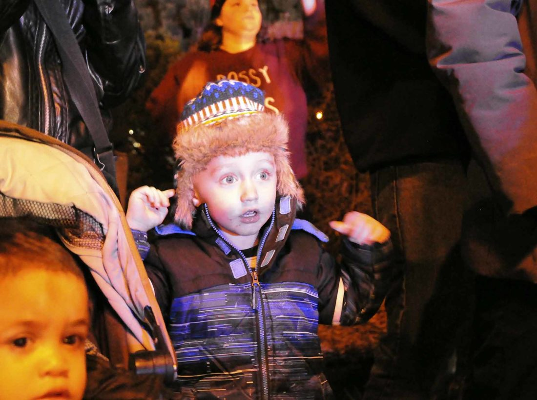 -Messenger photo by Joe Sutter  That face you make when Santa Claus arrives ... as demonstrated by Maverick Rasch, 4, at the Lights on Central celebration at the Fort Dodge Public Library in 2016. Rasch and his brother Declan Rasch, 2, were among hundreds of children celebrating as St. Nick arrived by fire truck at the city square.