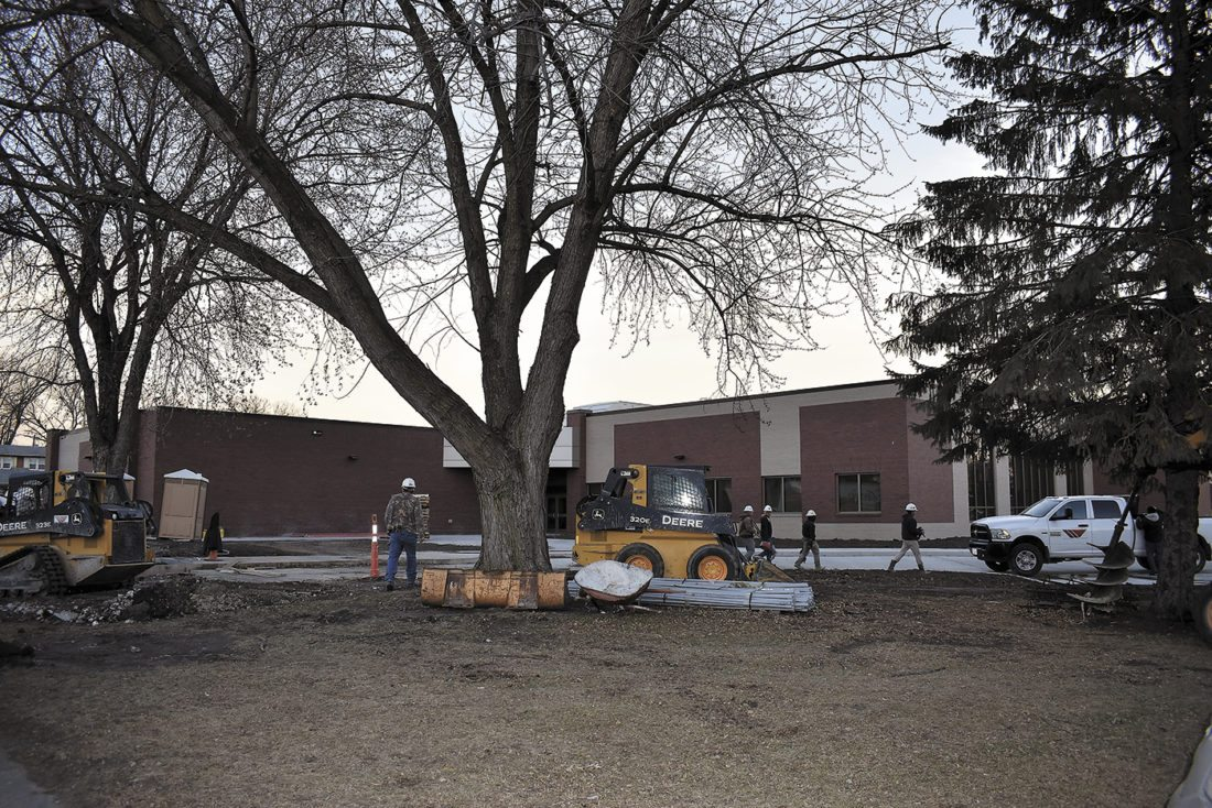 Work continues at the new Duncombe Elementary School Monday evening.