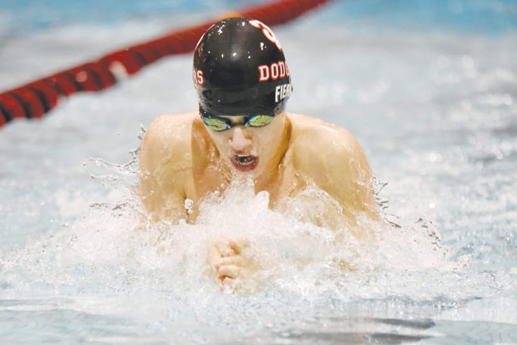 -Messenger photo by Britt KudlaAndrew Fierke of Fort Dodge compete during the 200 yard Medley Relay against Carroll and Spencer on Tuesday inside Dodgers Pool