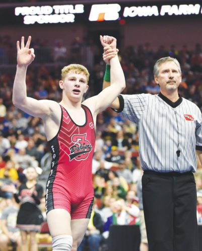 —Messenger photo by Britt Kudla  Fort Dodge's Brody Teske will begin his trek for a fourth state championship and an undefeated career.