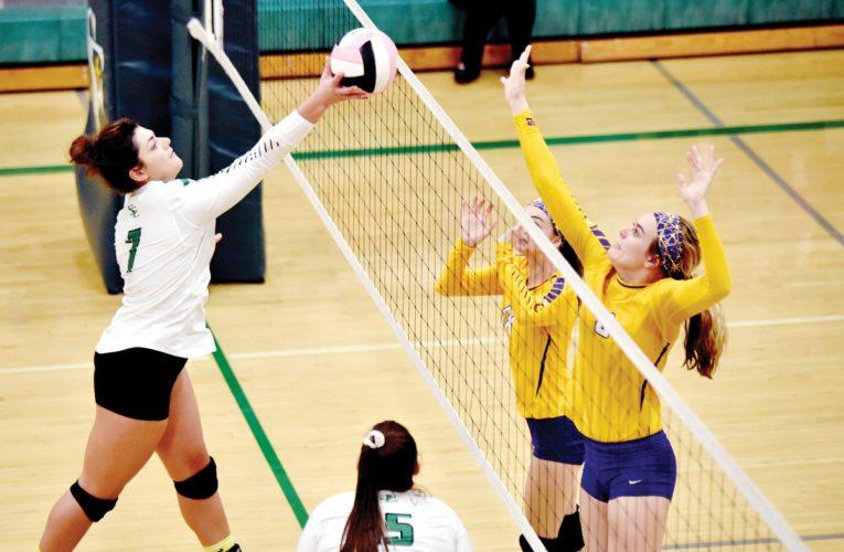 -Messenger photo by Britt Kudla Hannah Huss of St. Edmond tips the ball over Eagle Grove Hannah Huntley (9) on Tuesday