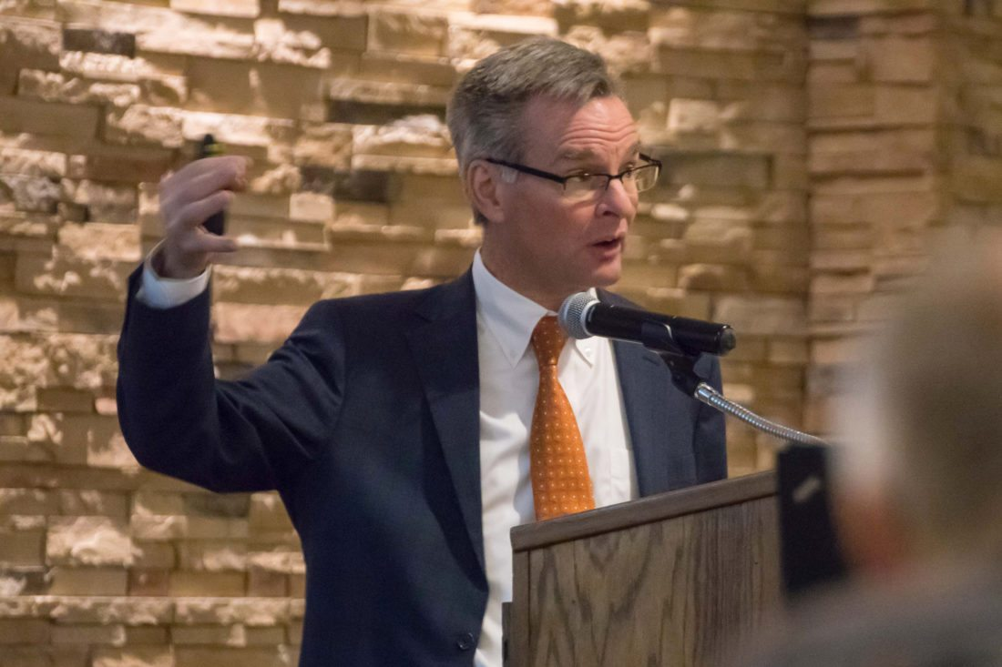 -Messenger photo by Darcy Doughtery Maulsby Des Moines attorney Michael Reck spoke at the Iowa Drainage District Association's annual meeting Friday.