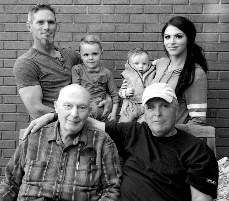 Pictured in the front row are Gene Kutz, great-great-grandfather, Twin Lakes; and Tim Kutz, great-grandfather. Pictured in back from left are Phil Kutz, grandfather; Keaton Kutz, son; Tayven Cutlip, son; and Ayla Cutlip, mother of the two boys. Gene Kutz is from Twin Lakes and the rest of the family is from Clearfield, Utah.