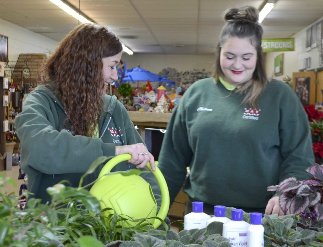 -Messenger photo by Peter Kaspari  Kim Bloomquist, left, manager of Earl May Nursery & Garden Center, and associate manager Chelsea Brueschke look over the house plant section of the store. Earl May recently remodeled the store, allowing more room for its landscaping and furniture section.