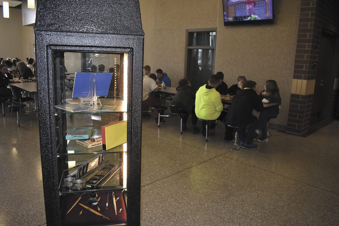 -Messenger photo by Chad ThompsonA portion of the Cabinet of Obsolescence is shown here as Fort Dodge Middle School students enjoy their lunch Tuesday morning.