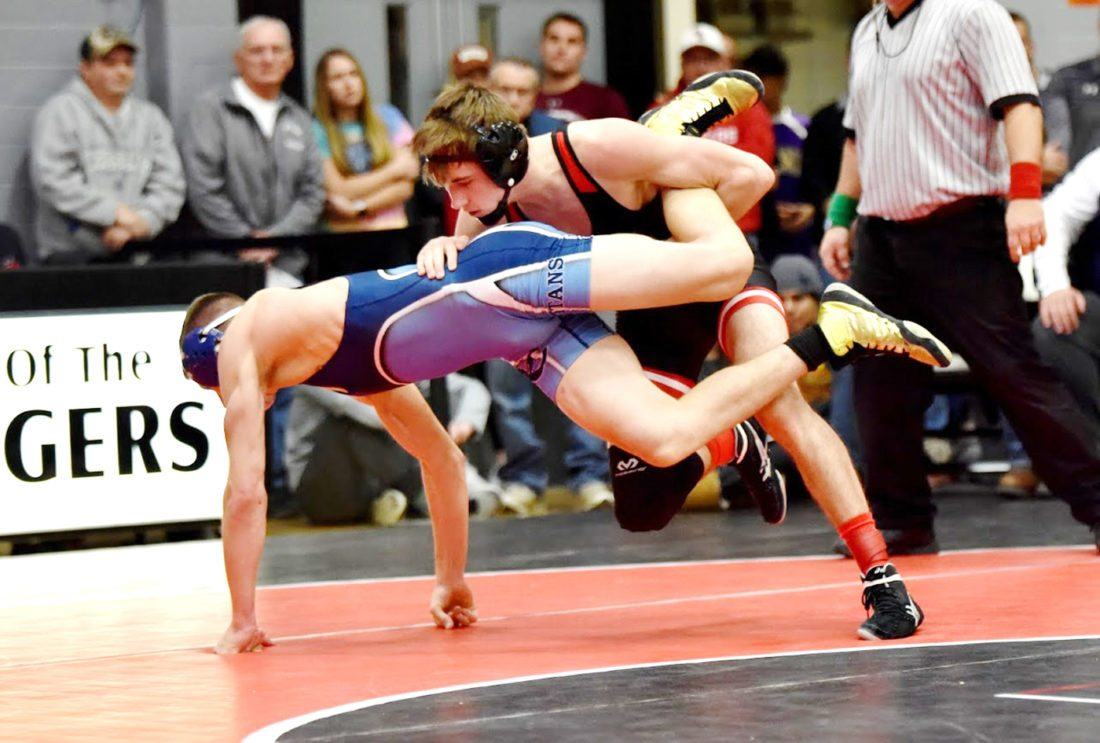 Messenger photo by Britt Kudla  Top-ranked Drew Bennett of Fort Dodge was a Don Miller Invitational champion on Saturday at 132 pounds.