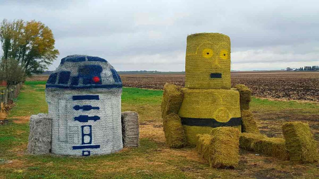 The Haselhuhn family created beloved Star Wars' characters R2D2 and C3PO from hay bales in 2015.