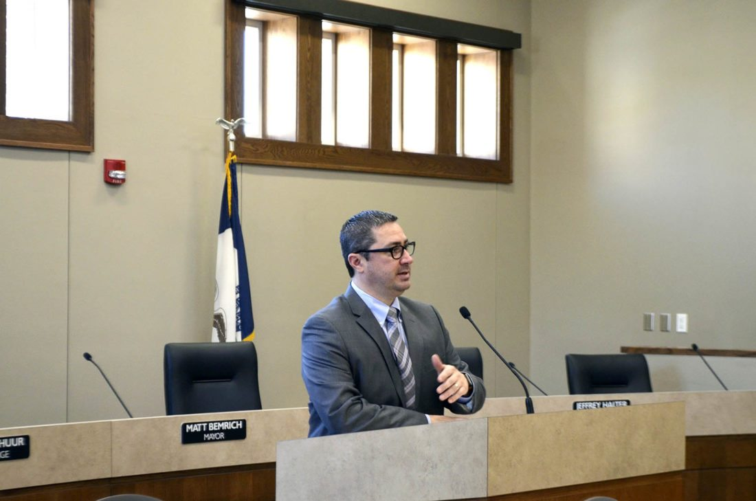 -Messenger photo by Bill Shea    Fort Dodge Mayor Matt Bemrich welcomes people to the swearing-in ceremony for himself and members of the Fort Dodge City Council Tuesday morning at the Municipal Building.