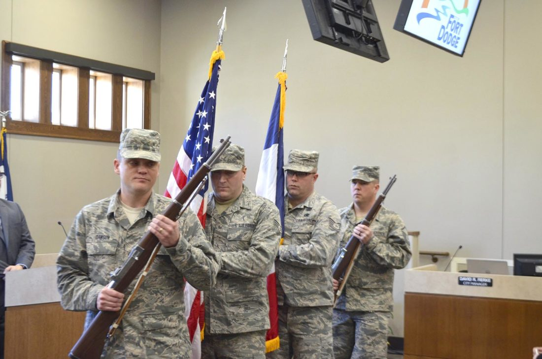 -Messenger photo by Bill Shea Members of the 133rd Test Squadron of the Iowa Air National Guard bring the flags of the United States and Iowa into the council meeting room at the Fort Dodge Municipal Building Tuesday morning for the swearing-in ceremony for elected officials.