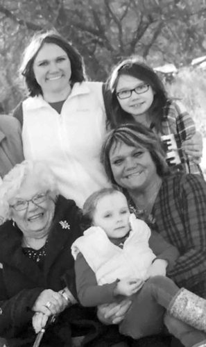 Four generations of the Peterson family are shown. Pictured in the first row from the left are Mary Peterson, great-grandmother; Emelia Gottschalk; and Susan Allard, grandmother. In back are mother Jessica Gottschalk and Hanna Gottschalk.