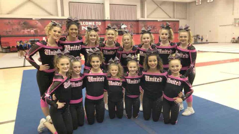 Team ICE recently competed at Nation's Choice Holiday Classic in Dekalb, Illinois, and placed first at the competition and earned themselves a full paid bid to the  Varsity All Star D2 Summit Cheerleading Nationals held at Disney's ESPN Wide World of Sports in May. This is the first time that United All Stars has ever had a full paid bid to a national competition. Pictured in back from left are Kayla Benton, Matayah McLoughlin, Maddy Ellis, Macy Johnson, Brooklyn Arndt, Ashlynn Mills, Madisyn Mills and Eva Gibson. Pictured in front are Ayrton Peterson, Ellie Knox, Jacey Ash, Ava Sortedahl, Michaela Leiting, Laila Taylor and Greta Lewerke.