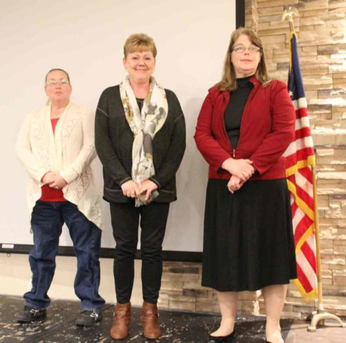 At the 4-H banquet, three 4-H alumni were recognized. Pictured from left are Teresa Carter, Deb Rockow and Jan Lewandowski.