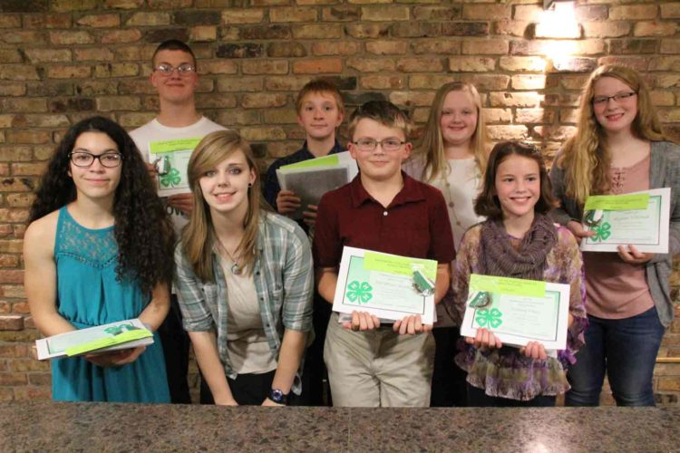 At the 4-H banquet, the Spirit Award winners were announced. Pictured from left in front are Jeannie Boro, Anna Lewandowski, Ignatius Kirby and Sasha Hess. Pictured from left in back are Jacob Miller, Jacob Geis, Isabelle Berger and Alyson Nieland.