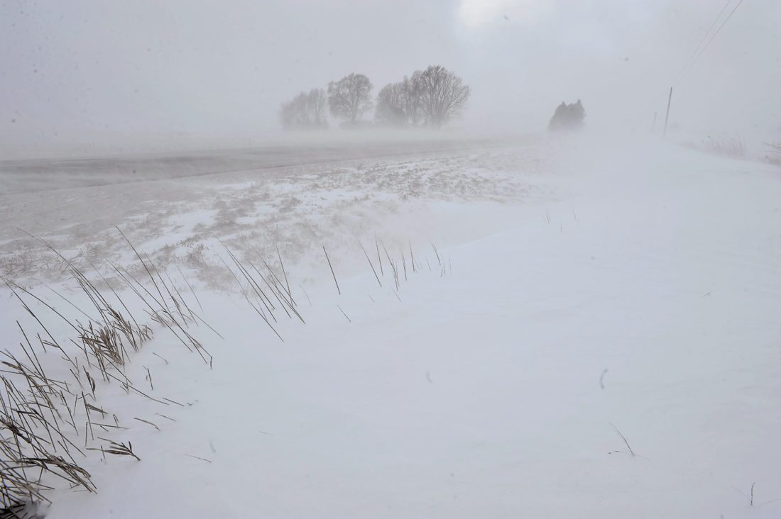 -Messenger photo by Hans Madsen  Blowing and drifting snow along Iowa Highway 175 just west of Dayton Thursday afternoon reduced visibility greatly.
