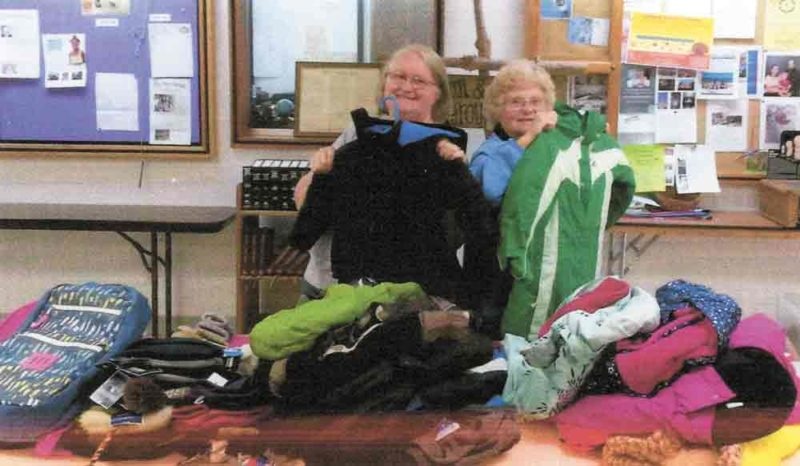 Zion Lutheran Church, in Humboldt, collected coats for the kids program of Upper Des Moines Opportunity. Pictured from left are mission committee members Marion Anderson and Bev Allbaugh. Joan Arnold is not pictured.
