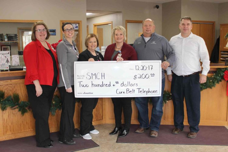 Stewart Memorial Community Hospital has received a $200 grant from the Aureon Charity Grant Program through Corn Belt Telephone in Wall Lake. These funds will support the patient centered healing environment project at SMCH's McCrary Rost Clinic in Lake View which had more than 3,000 patient encounters in 2016. Representatives from Stewart Memorial Community Hospital were presented a check for $200 from Corn Belt Telephone through the Aureon Charity Grant Program.  Pictured  from left are Jennifer Snyder, marketing assistant;  Stephanie Bellcock, ARNP-C; Norma Wessling, clinic nurse; Mary Ludwig, director of marketing, volunteers and development; Lee Wuebker, general manager at Corn Belt Telephone; and J.D. Siebert, area representative for Aureon.