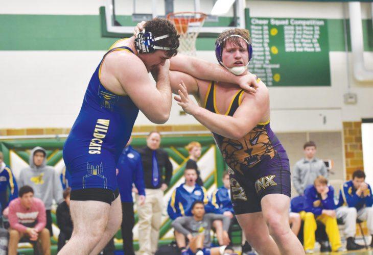 -Messenger photo by Britt Kudla Cooper Lawson of Webster City wrestles against Humboldt Justin Jones on Tuesday