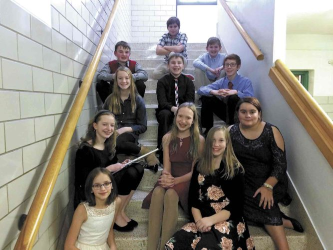 Students representing Fort Dodge Middle School were: Sixth-graders Grant Behrens, Colton Hale, Kyra Raymond and Karch Smith; seventh-graders Aaron Amhof, Katherine Berry, Grace Casciato, Kathryn Delaney, Ryan Madden, Amelia Rake, Grace Tolliver.