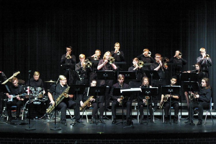 -Submitted photo  Fort Dodge Jazz I is shown performing recently. The group will be participating in the Iowa High School Music Association State Jazz Band Festival today.