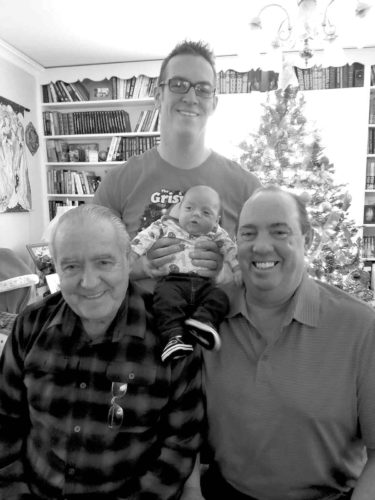 "Four generations of the Reetz family gathered recently. Pictured from left are Charles ""Bob"" Reetz Sr., great-grandfather; Matthew Reetz, holding his son Orlo Reetz; and Charles Reetz Jr., grandfather."