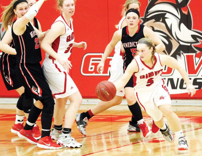 Photo courtesy Doug Wells/Grand View University. Grand View Women's Basketball team defeats Benedictine College.