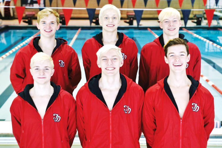 —Photo by Kent Keith  State qualifiers for the Fort Dodge boys swim team are, front row, left to right: Jeremy Brower, Cole Pearson and Eli Asay. Back: Landon Getting, Andrew Fierke and Ben Lennon.