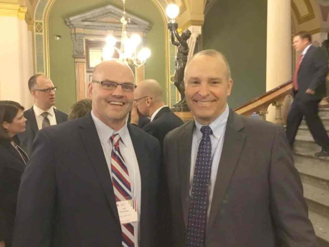 More than 150 education leaders and school superintendents visited the Iowa Capitol recently School leaders from the Prairie Lakes AEA region in attendance included Gilmore City-Bradgate, Greene County, Humboldt, LuVerne, Northeast Hamilton, Odebolt-Arthur, Sioux Central, South Central Calhoun, Stratford, and Webster City. Prairie Lakes AEA Chief Administrator Jeff Herzberg and Sen. Tim Kraayenbrink, R-Fort Dodge, are pictured. Herzberg also serves as superintendent at Gilmore City-Bradgate.