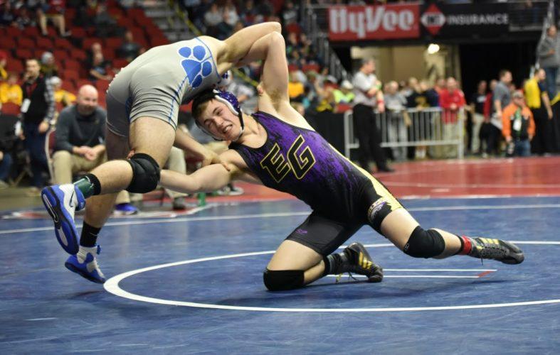 -Messenger photo by Britt KudlaBrayden Lyman of Eagle Grove wrestles against Woodbury Central Jake Dennison during class 1A state wrestling on Thursday