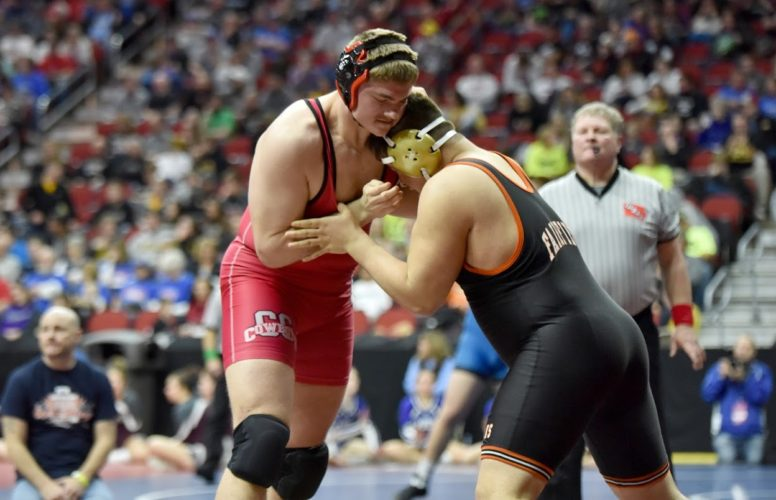 -Messenger photo by Britt Kudla Spencer Trenary of Clarion-Goldfield/Dows wrestles against Fairfield Brendon Lunsford during class 2A state wrestling on Thursday