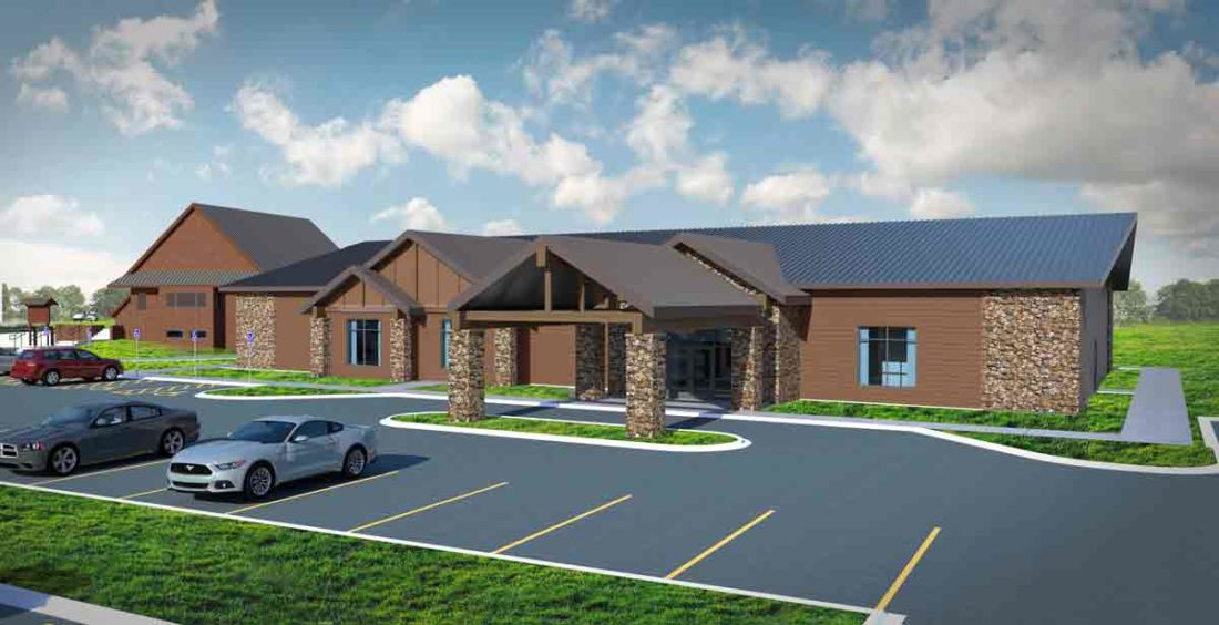 -Submitted graphic A drawing shows what the front of the new Briggs Woods Conference Center will look like when it is completed later in 2018.