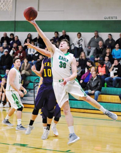Messenger file photo  Andrew Gibb scored 30 points for the St. Edmond boys on Tuesday in a 1A district semifinal at Bishop Garrigan, but the Golden Bears prevailed to advance, 73-66.