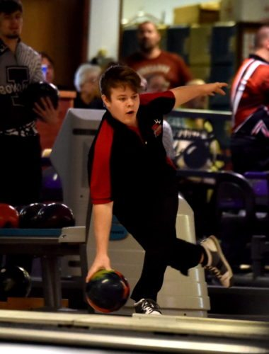-Messenger photo by Britt Kudla Kaleb Anderson of Fort Dodge bowl during Class 2A Districts on Tuesday at Ridgewood Lanes