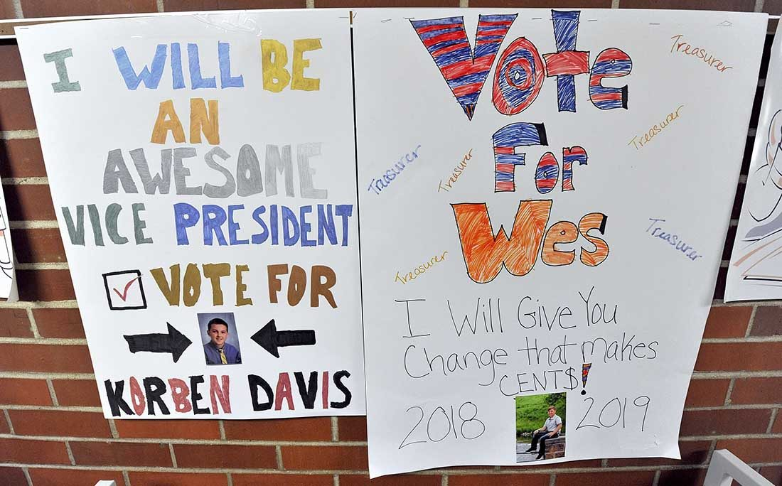 campaign posters created by 4th graders running for student council office
