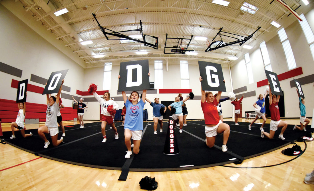 Fort Dodge Senior High's cheerleading squad practices their routines