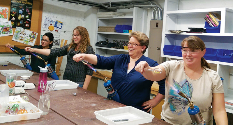"Submitted Photo  Participants are shown in the ""Glaskolben"" class – a Christmas ornament class – held at Margie's Art Glass Studio in Minot this past Saturday."