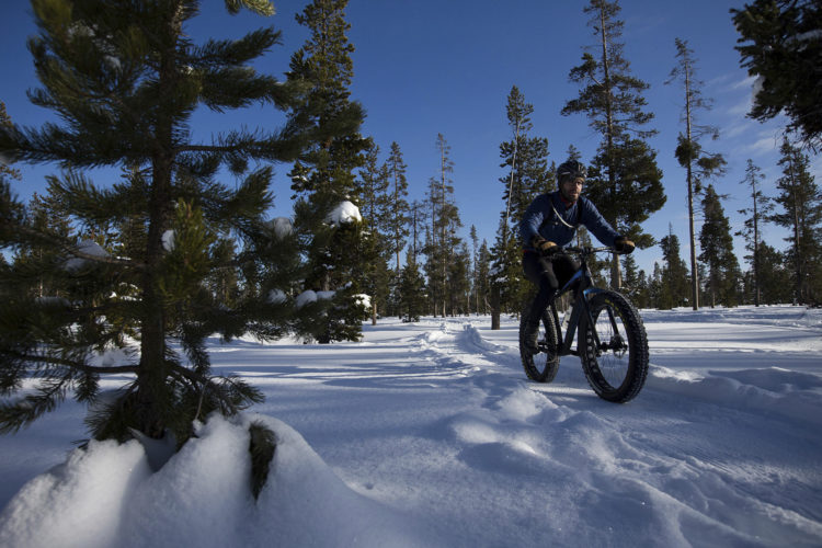 In this Jan. 2, 2016 photo, Adam Holt, of Bend, rides a fat bike on one of the groomed singletrack trails at Wanoga Sno-park in Bend, Ore. For those who just refuse to stop mountain biking, even when most Central Oregon singletrack is covered in snow — fatbikes are an option.  (Joe Kline/The Bulletin via AP)