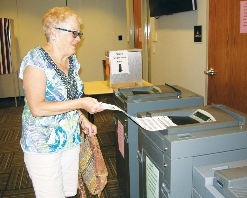 File Photo  Lynn Johnson submits her ballot in early voting at the Ward County Administrative Building June 14.