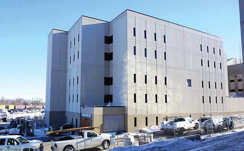 Jill Schramm/MDN  The exterior of the Ward County Jail expansion shows most of the work complete in December, with construction crews now focusing on the interior.