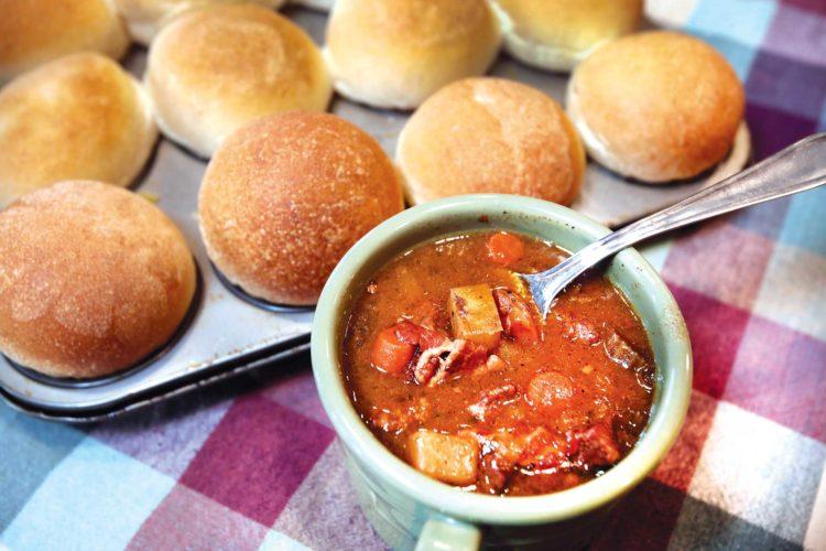 Forum News Service Pepper pot soup with fresh baked rolls.