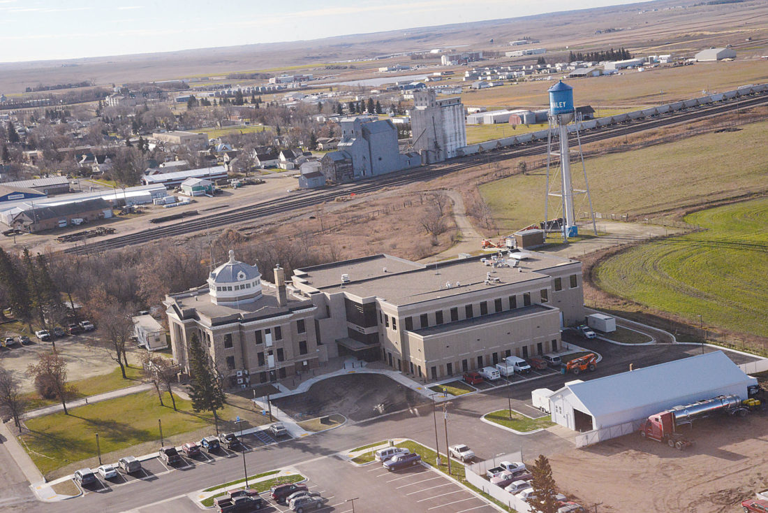 Submitted Photo Mountrail County's new justice center is visible to the right in this photograph. At the left is the old Mountrail County jail and courthouse which is listed on the Register of Historic Places. This photograph courtesy of Mary Kilen, Mountrail County Promoter.