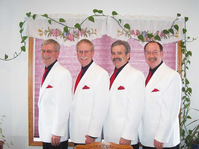 Submitted Photo From left to right, Larry Linrud (Baritone), Jim Myers (Bass), Dave Iverson (Lead) and Terry Geisen (Tenor) of Dakota Blend will serenade Minot area residents Tuesday, Feb. 14., from 7:45 a.m.- 7:45 p.m.