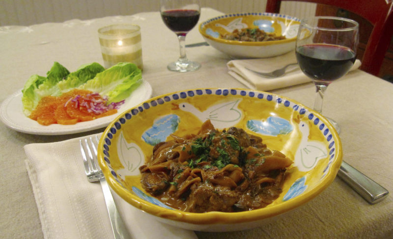 This Jan. 13, 2017 photo shows Beef Stroganoff. This amped-up beef stroganoff is a 1-pot noodle dish made with filet mignon, dried mushrooms, tomato paste and Dijon mustard. It's a perfect dish for Valentine's Day. (Sara Moulton via AP)
