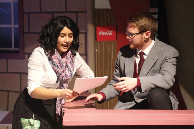 "Submitted Photo  From left to right, Emma, played by Alayzia McLeod, tries to reason with her classmate turned teacher Mr. Jeff Knightly, played by Micah Carter, during ""Emma!,"" opening tonight and running through Saturday at Minot High School-Central Campus."